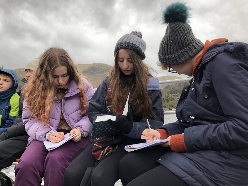 Students gaining creative inspiration on Ullswater Lake Steamer ride to Aira Force Waterfall